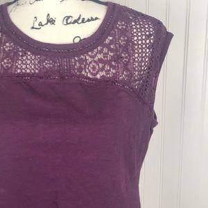 Purple Eddie Bauer Crochet Chest Sleeveless Top